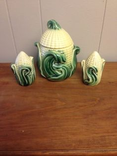 Vintage-512-Stanford-Art-Pottery-Corn-Sugar-Grease-Jar-Salt-Pepper-Shakers