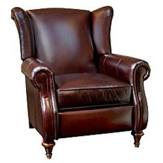 """Chamberlain """"Designer Style"""" Leather Wingback Recliner - Leather Recliners"""