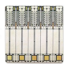 """Absorbent stone trivet adapted from the famed """"Tree of Life"""" art glass pattern in Frank Lloyd Wright's Darwin D. Martin House in Buffalo, New York."""