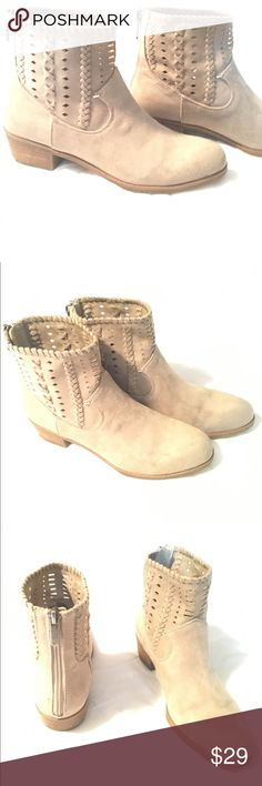 🌴Indigo Rd. Ankle Boots 🌴 Suede (or faux-suede) taupe ankle boots with cut out design. Back zip. Super cute!! These are a bit snug on me so I have only worn them twice!  * Excellent Condition * Very Gently Used * Smoke-free home  * I would be happy to take specific measurements on request.  * No offer refused! 😀 Will either accept or counter Indigo Rd Shoes Ankle Boots & Booties
