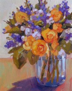 """Daily Paintworks - """"Yellow Roses"""" by Libby Anderson"""