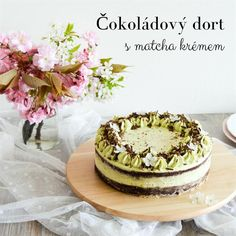 Čokoládový dort s krémem z bílé čokolády a zeleného čaje matcha