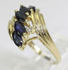 Diamond sapphire ring 14K yellow gold marquise round brilliant twist 1.52CT sz 6