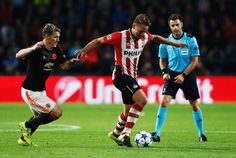 Luuk de Jong of PSV Eindhoven is closed down by Bastian Schweinsteiger of Manchester United during the UEFA Champions League Group B match between PSV Eindhoven and Manchester United at PSV Stadion on September 15, 2015 in Eindhoven, Netherlands. (Sept. 14, 2015 - Source: Dean Mouhtaropoulos/Getty Images Europe)