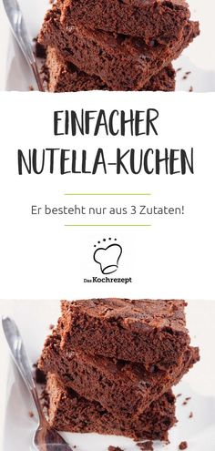 Nutella and egg cake - Schokolade – die Rezepte für alle, die Schokolade lieben! - This cake consists of only 3 ingredients: The Nutella cake is baked with egg, the famous chocolate n - Healthy Dessert Recipes, Easy Desserts, Smoothie Recipes, Cake Recipes, Health Desserts, Summer Desserts, Healthy Foods, Vegan Recipes, Dinner Recipes