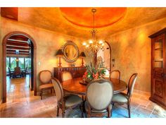 Tuscan style dining room with rice paper faux wall treatments