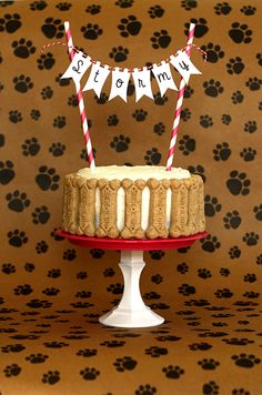 Dog Cake Birthday Pennant Topper by Formytwogirls on Etsy, $7.00
