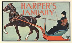 Edward Penfield (American, 1866–1925). HARPER'S / JANUARY, 1899. The Metropolitan Museum of Art, New York. Leonard A. Lauder Collection of American Posters, Gift of Leonard A. Lauder, 1984 (1984.1202.114) #horses