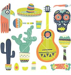 Mexican elements vector 4328040 - by Favete on VectorStock®