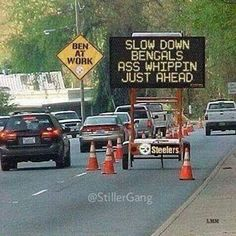 Try a digital sign generator. Steelers Football, Pittsburgh Steelers, Pittsburgh Food, Steelers Stuff, Funny Signs For Work, Steelers Super Bowls, Lol Text, Steeler Nation, Humor