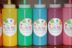 Homemade Doodle Paint - Non-toxic -1/2 cup each flour, salt, water, food coloring,  6oz. bottle squeeze bottle.  That's it, mix until it doesn't have any lumps and color to desired shade.  Use thicker paper like cheap poster board (Dollar Tree) or watercolor paper.      Here are some free labels for your bottles.  http://www.scribd.com/doc/43900413/Lil-Boo-amp-Co-Doodle-Paint-Labels