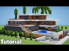 Minecraft: How To Build A Large Modern House - Tutorial ( 2018 - Minecraft Servers Web - MSW - Channel Minecraft Beach House, Minecraft Villa, Casa Medieval Minecraft, Modern Minecraft Houses, Images Minecraft, Minecraft House Plans, Minecraft Mansion, Minecraft House Tutorials, Minecraft Houses Blueprints