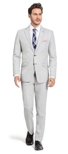 Grey striped linen Suit http://www.tailor4less.com/en-us/men/suits/3163-grey-striped-linen-suit