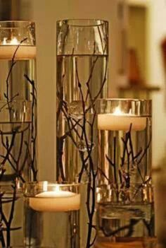 Twigs and water candle display