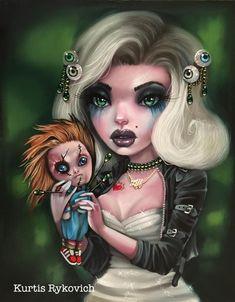 Fantasy Art Horror Tiffany And Chucky Arte Horror, Horror Art, Bride Of Chucky, Sugar Skull Art, Goth Art, Creepy Art, Pop Surrealism, Fairy Art, Dark Fantasy