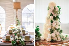 Beautiful table-scapes and wedding cakes inspired by greenery and gold tones.