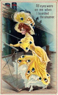 Embossed US postcard Lady in fabulous Art Nouveau dress