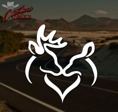 Buck and Doe Deer Kissing Heart Decal *Pick Your Size & Color*