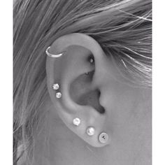 New double cartilage piercing! Best Friends Matching Ink ❤ liked on Polyvore featuring jewelry, earrings, piercings, ear, ear piercing and earrings jewelry