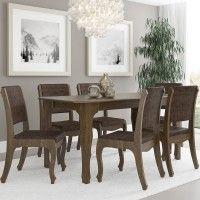 Conjunto Sala de Jantar Ônix Mesa 160x90 cm e 6 Cadeiras Imbuia - RV Móveis