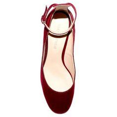 Women's Angelique Velvet Quarter Strap Pumps Who What Wear - Wine 7.5, Red