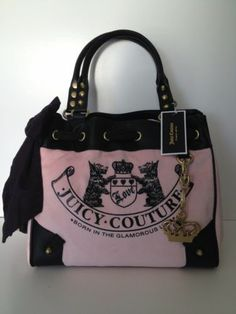 NWT JUICY COUTURE DAYDREAMER PINK VELOUR BLACK LEATHER HANDBAG $228