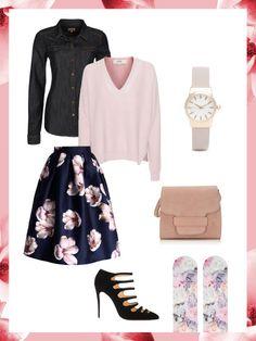 What to wear to work: das perfekte Büro-Outfit. Heute besonders feminin mit Blumenprint auf dem Rock und den Nylon-Söckchen.