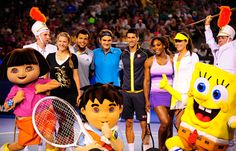 Victoria Azarenka, Jo-Wilfried Tsonga, Roger Federer, Novak Djokovic, Serena Williams and Ana Ivanovic pose with Nickelodeon characters during the Rod Laver Arena spectacular at Kids Tennis Day. Saturday, 12 January, 2013