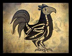 folk art chicken painting - Google Search
