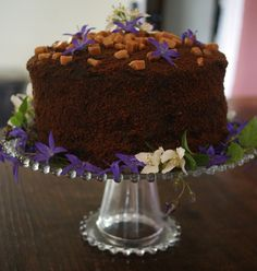 Lovely tall cake - chocolate fudge - with flower decoration