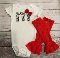Baby girl Birthday outfit damask black white red by mmhandmades, $24.95