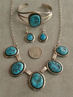 Old Pawn NAVAJO Leroy Sandoval SLEEPING BEAUTY TURQUOISE STERLING NECKLACE SET