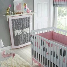 Pink, white & gray nursery