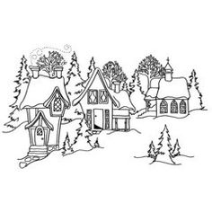 Printables christmas winter on pinterest christmas for Christmas town coloring pages