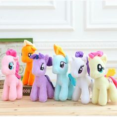 "6pcs/lot 7"" 18cm Cute Rainbow Horse Toys Cartoon Toys Hobbies Stuffed Dolls Movie TV Stuffed Plush Animals Little Horse"