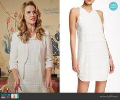 Petra's white studded dress on Jane the Virgin. Outfit Details: https://wornontv.net/56642/ #JanetheVirgin