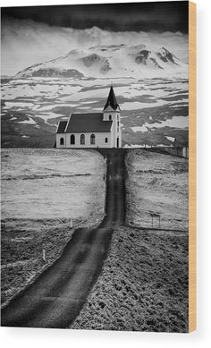 """Church in Iceland black and white Wood Print. Fine Art Photography with great contrast and tones.  Road leading to a church in the mountains. Ingjaldsholl church, Snaefellsnes, Iceland. The image gets printed directly onto a sheet of 3/4"""" thick maple wood.  Matthias Hauser - Art for your Home Decor and Interior Design."""