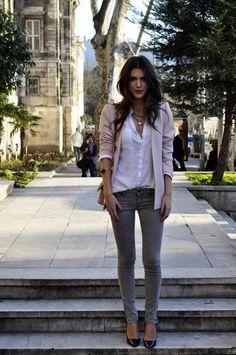 grey denim / white button-down / colored blazer
