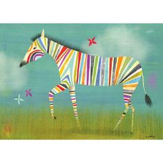 A colorful zebra strolls through the brush on a hot summer's day on this stretched canvas piece.<br><br>The Oopsy Daisy Rainbow Zebra Canvas Wall Art - 14 . Arte Zebra, Zebra Kunst, Zebra Art, Art And Illustration, Childrens Wall Art, Art Wall Kids, Art For Kids, Playroom Art, Canvas Art Prints