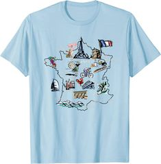 Amazon.com: Illustrated map of France, attractions, landmarks, cities T-Shirt: Clothing