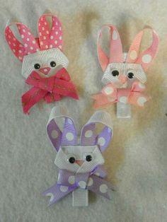 Easter bunny heads hair bow clips