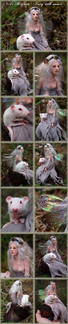 Nenúfar Blanco ~ #130 Bryonia - Fairy with mouse @ http://www.nenufar-blanco.com/