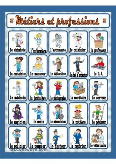 Métiers et professions French Language Lessons, French Language Learning, French Lessons, English Lessons, French Flashcards, French Worksheets, French Teaching Resources, Teaching French, Basic French Words