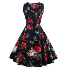 Wholesale Vintage Sleeveless Floral Print Women's Dress Only $9.68 Drop Shipping | TrendsGal.com