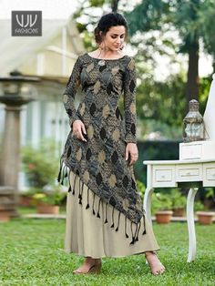 Stylee Lifestyle Women's Art Silk Blend Printed Gown in Grey Silk Kurti Designs, Kurta Designs Women, Kurti Designs Party Wear, Latest Kurti Designs, Designer Party Wear Dresses, Designer Gowns, Indian Designer Outfits, Stylish Dresses For Girls, Indian Gowns Dresses