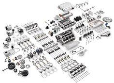 V8 engine dismantled
