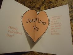Valentine's Day Crafts for Sunday school Pop out card Jesus Loves You
