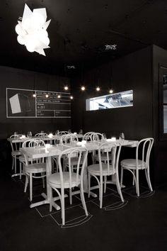 "New NYC Restaurant ""What Happens When"" | Architectural blueprint themed restaurant interior"