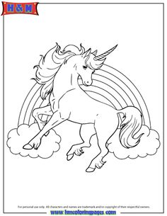 Unicorn Horse With Rainbow For Girls Coloring Page Find This Pin And