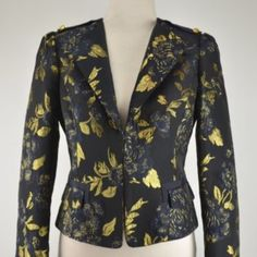 ELIE TAHARI Odessa Jacket NWOT ELIE TAHARI Odessa Jacket Blazer -NWOT Originally $448 + tax Very Dark Navy/Gold with navy lining.  Grossgrain epaulets with one button on each shoulder Closure:  One Hook & Eye FABRIC: 90% Polyester/ 10% Metallic Yarn Brand New! Looks great dressed up for work or down with jeans or white pants. Immaculate! MINT CONDITION! (1st photo is stock photo to show style/fit and 2nd/3rd/4th photos are the actual jacket I'm selling) Elie Tahari Jackets & Coats Blazers